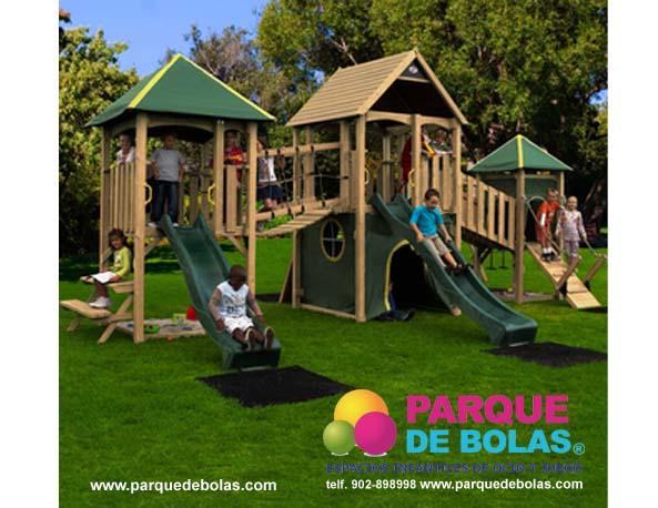 Columpio infantil castillo parques infantiles y mixtos en madera parque de bolas - Parque infantil de madera ...